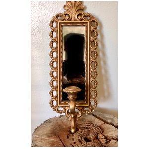 Vintage Hollywood Regency Rococo Homco Mirror Gold